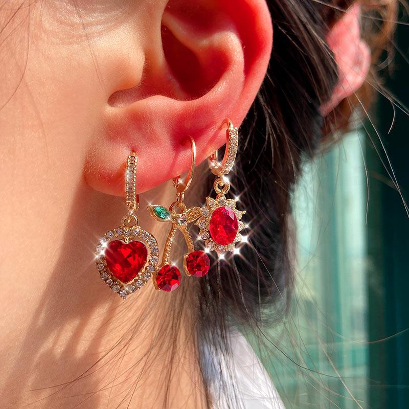 JUST FEEL 4Pcs/set Shiny Heart Crystal Drop Earrings Female Fashion Multicolor Butterfly Cherry Earring Sets Statement Jewelry