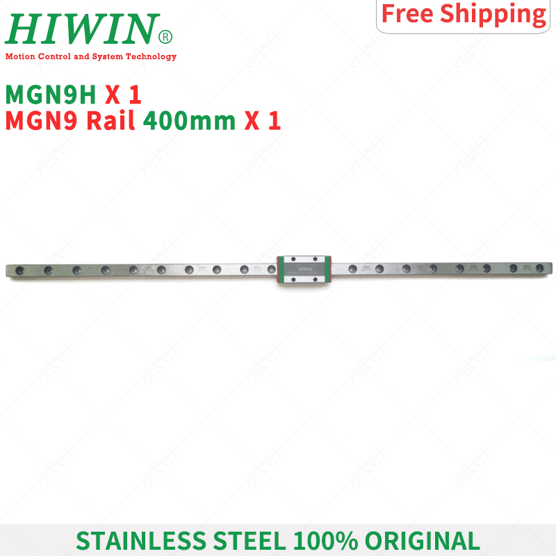 Free Shipping HIWIN Stainless Steel 9mm MGN9 400mm linear rail  +  MGN9H Long linear carriage  Slider Block for 3D printer