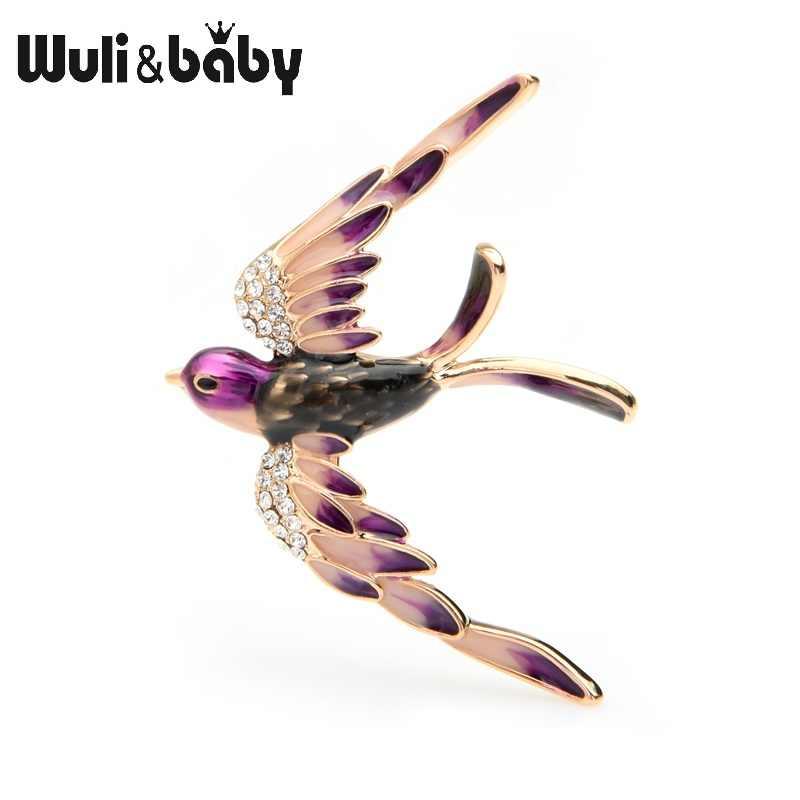 Wuli Bayi 3 Warna Terbang Swallow Bros Wanita Alloy Berlian Imitasi Biru Ungu Multicolor Burung Pernikahan Bros Pin Hadiah
