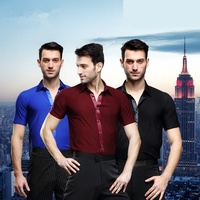 Black White Red Boy Adult Latin Tops Practice Clothes Men Short Sleeve Shirt Latin Dance Shirts Ballroom Latin Stage Dance Shirt