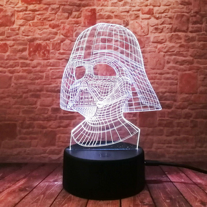 Cool LED Luminous Nightlight 7 Colourful Changing Light Black Knight Star Wars Darth Vader Mask action & toy figures 4