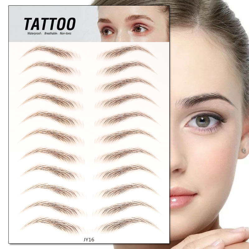 6D Eyebrow Sticker Bionic Tattoo Semi-Permanent Water Transfer Waterproof Embroidery Eyebrow Tattoo Sticker Makeup Supplies