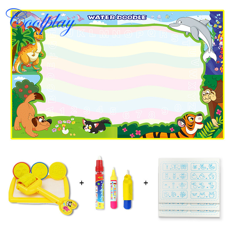 85*65 Cm Children Magic Water Canvas Water Environmentally Friendly Paint Wave Rainbow-colored-with Accessories Bag