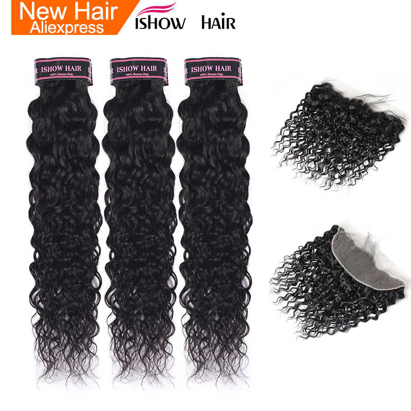Ishow Brazilian Water Wave Bundles With Closure Non Remy Human Hair Bundles With Frontal Pre Plucked 3 Bundles With Frontal