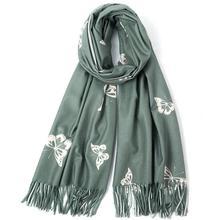 New Batterfly Print Scarf Long Winter Warm Flower Shawl for Women Men Christmas Year Gift foulard femme soie