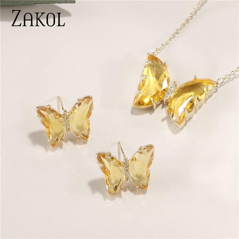 ZAKOL брендовые милые 5 цветов AAA + CZ циркониевые серьги ожерелье набор для женщин трендовая желтая бабочка свадебное Ювелирное Платье