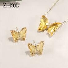 Zakol marca bonito 5 cor aaa + cz zircônia brincos colar conjunto para as mulheres na moda borboleta amarela nupcial casamento jóias vestido