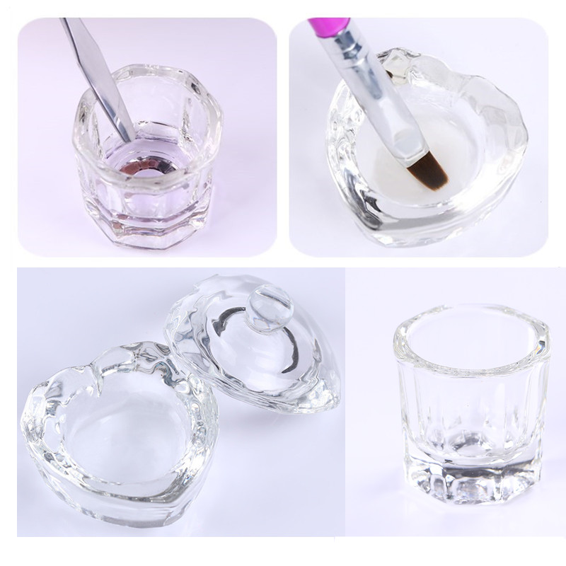 1Pc Acrylic Nail Cup Clear Crystal Bowl For Acrylic Powder Liquid Holder For Carving Extension Nail Art Tool Manicure DIY