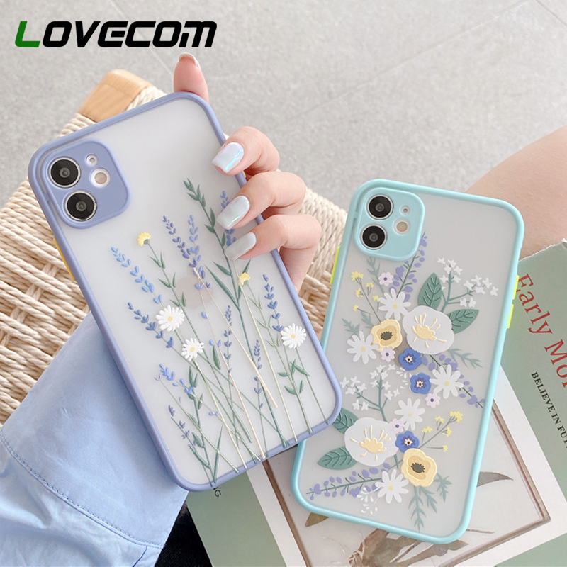 LOVECOM Cute Flower Leaf Phone Case For iPhone 11 Pro Max XR XS Max 6 7 8 Plus X SE 2020 Soft TPU Hard PC Back Cover Coque Gifts