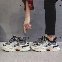 Ins baskets chaudes femmes à la mode gros papa Chaussures lacets plate-forme chaussure nouvelle couleur correspondant croix-attaché baskets Tenis Chaussures 35-43