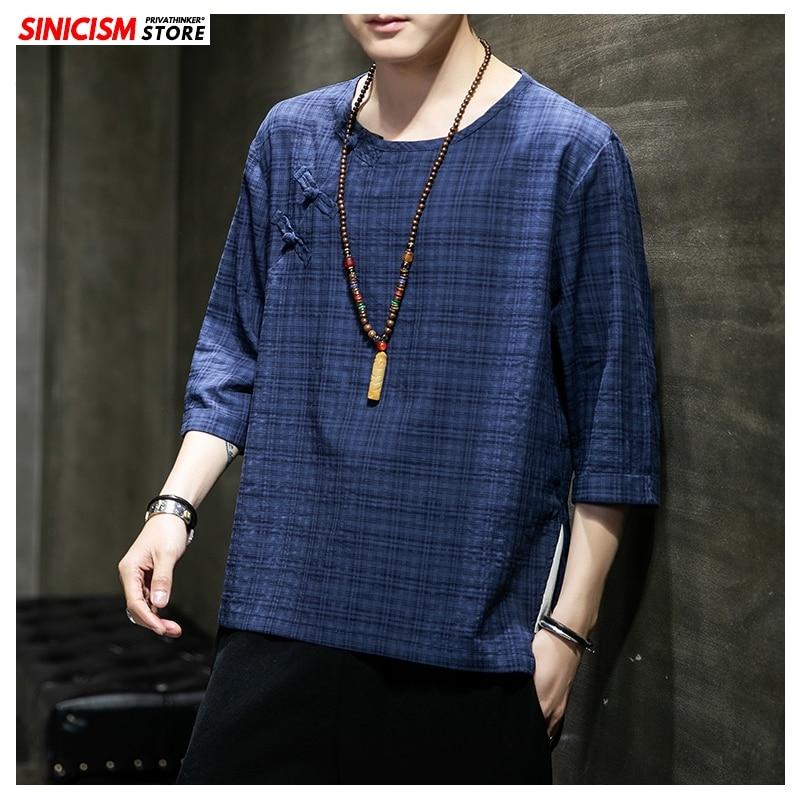 Sinicism Store 2020 Men Chinese Style Buckle 5XL T Shirt Men's Spring Vintage T-Shirts Male Fashion Plaid Clothes Oversize