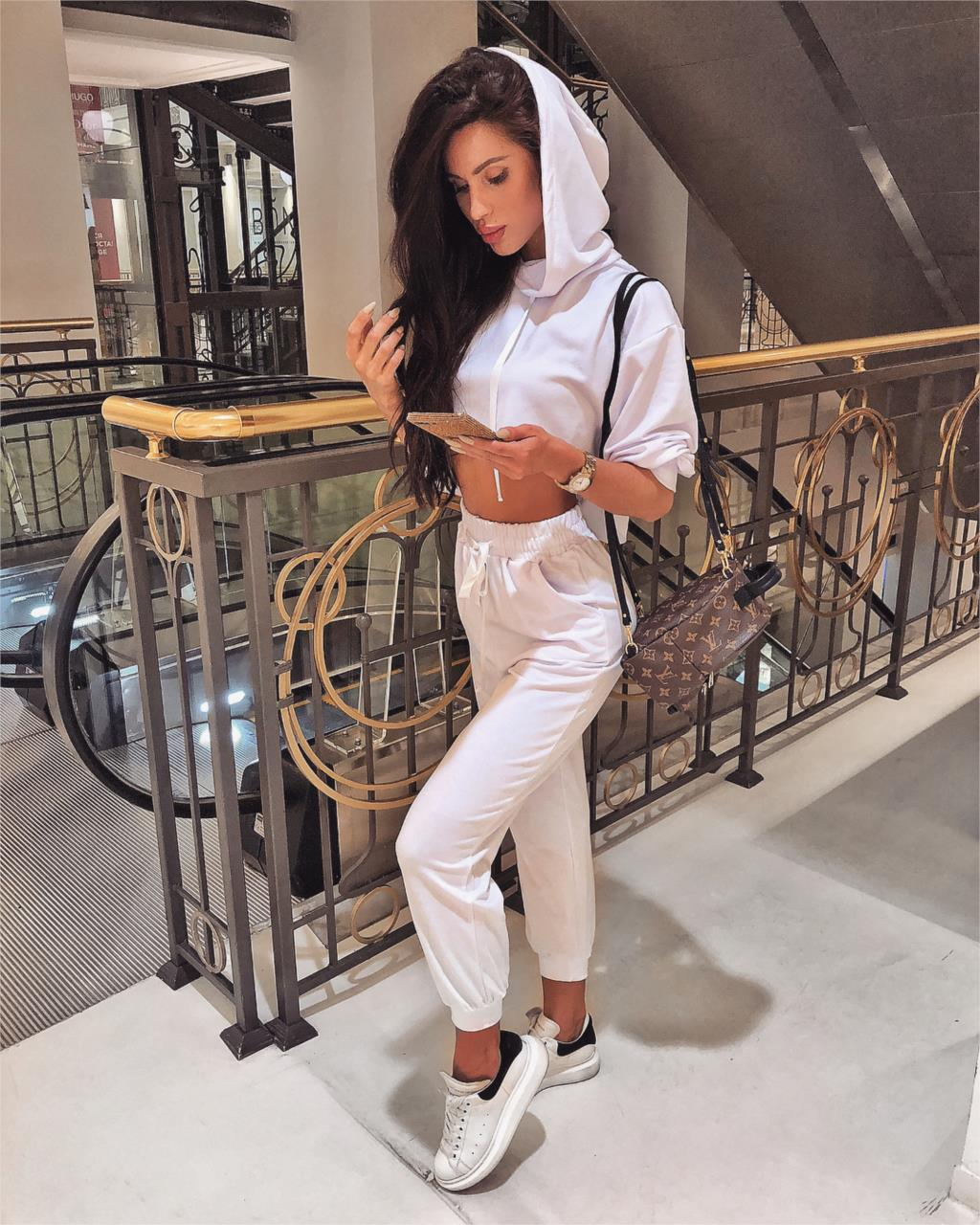 WannaThis Women 2 Pieces Sets Streetwear Pullover Lace Up Crop Top and Cargo Pants Loose Jogger Trousers Solid Autumn Winter2019 in Women 39 s Sets from Women 39 s Clothing