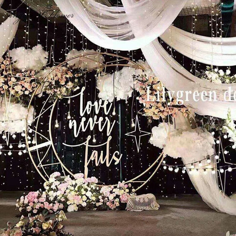 Custom 70.87'' Gold White Moon Ship Metal Iron  Arch Decor Wedding Stand Backdrop Cake Stand Shelf Crescent Wedding Moon Arch-in Artificial & Dried Flowers from Home & Garden    1
