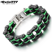 oulai777 stainless steel men bracelet black green bicycle chain  locomotive mens accessories punk male personality bracelets
