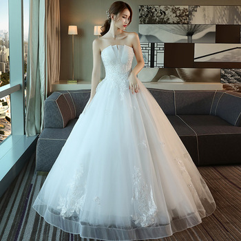 Feerijt Luxury Off White Simple Wedding Dress For Women Sexy Strapless Lace Flower Beading Plus Size Lace Up Slim Robe De Mariee