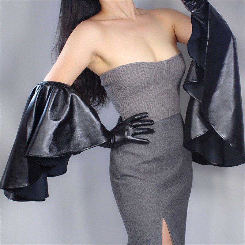 Long Leather Gloves 60cm Oversized Round Lotus Lace Sleeves Simulation Leather White PU Leather Female WPU165-4