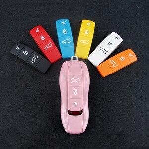 Чехол для ключей, резиновая рамка для Porsche Cayenne Boxster 718, чехол для ключей, 3 кнопки, замена пульта дистанционного управления, чехол
