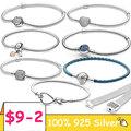 TOP SALE Pulseira 925 Sterling Silver Bracelet Femme Heart Snake Chain Bracelet For Women Fit Original Charm Beads Jewelry Gift