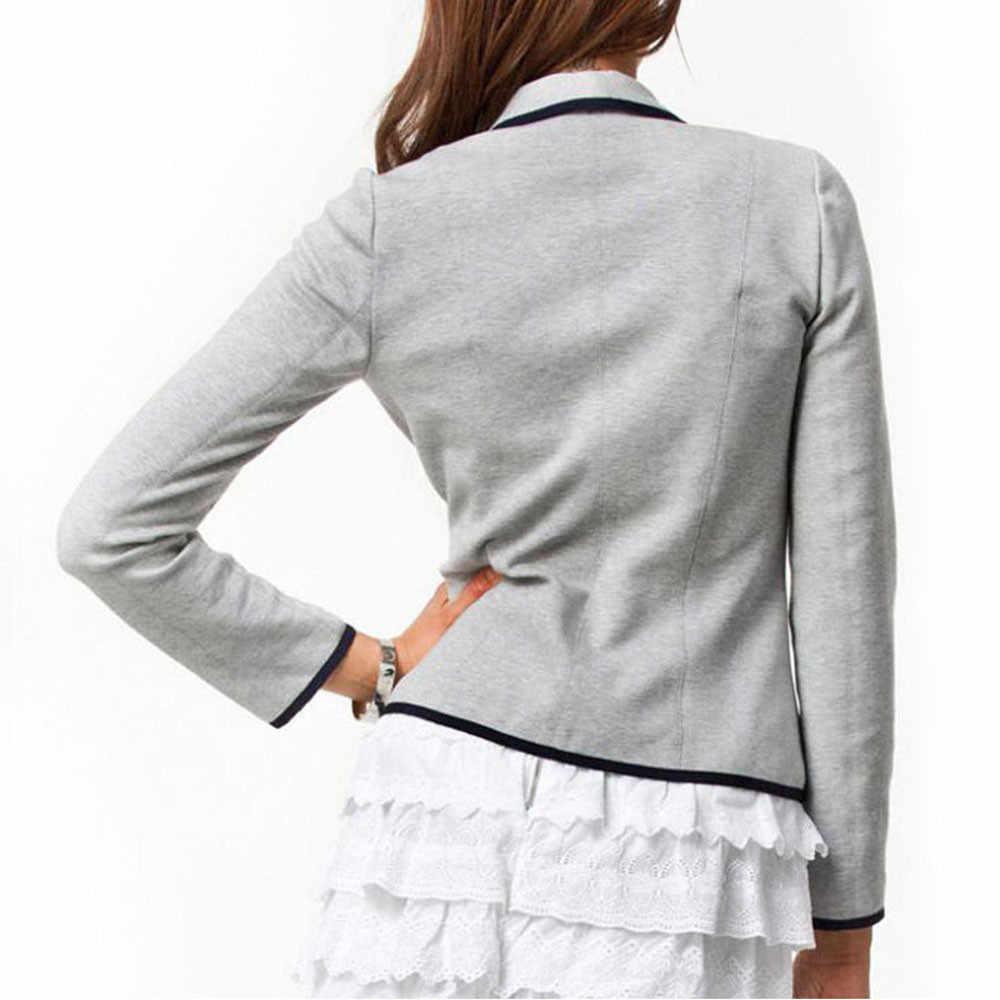 Plus rozmiar kobiety Crop biznes płaszcz Blazer garnitur z długim rękawem topy Slim kurtka znosić jesień odzież robocza S-6XL kobiety płaszcz wierzchni 2019
