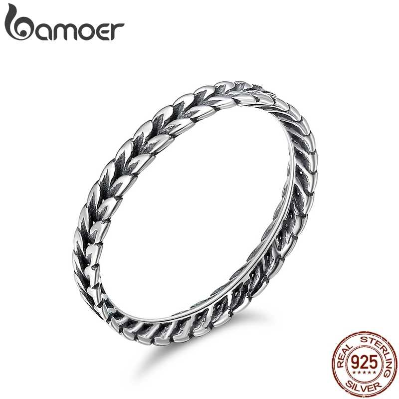 BAMOER Authentic 925 Sterling Silver Stackable Ring Wheat Shape Arrow Finger Ring Women Vintage Sterling Silver Jewelry SCR139