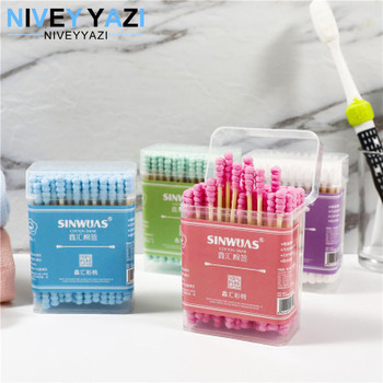 100pcs Bamboo Cotton Swab Wood Sticks Soft Cotton Buds Double Head Cotton Swab Nose Ears Cleaning Health Cosmetics Care Tools