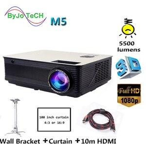 Проектор Poner Saund M5 HD 3D, 5500 люмен, 10 м, HDMI, настенный кронштейн, экран, проектор Vs bt96 led96