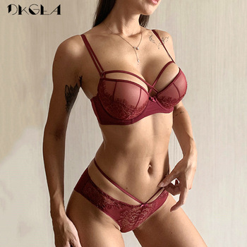 New Top Sexy Underwear Push up Bra Set Cotton Brassiere Deep V Black Lace Bra and Panty Sets Embroidery Women Lingerie Set Green 1