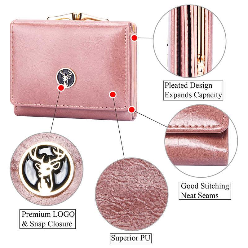 Krótki portfel damski dla kobiet małe portfele skórzany portfel damski moda damska Hasp portfel damski Mini dla posiadaczy kart studenckich