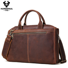 Briefcase Messenger-Bags Crazy-Horse-Leather Laptop Documents Business Travel 14inch