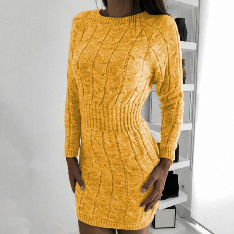 Женские вязаные платья, осенний и зимний свитер, длинная посылка, обтягивающее мини-платье