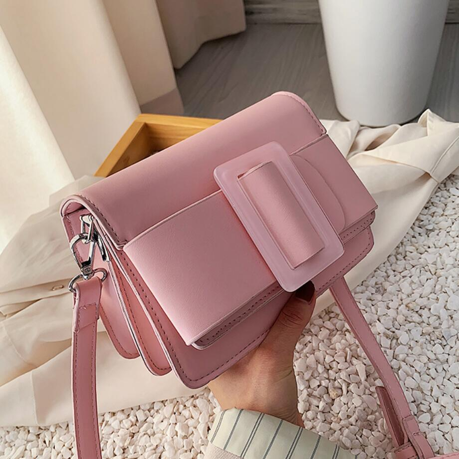 Solid Color Square Crossbody Bag 2020 Fashion New Quality PU Leather Women's Designer Handbag Lock Chain Shoulder Messenger Bag