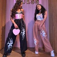 Waataak Loose Wide Leg Pants Women Baggy Pink Black Print Ha
