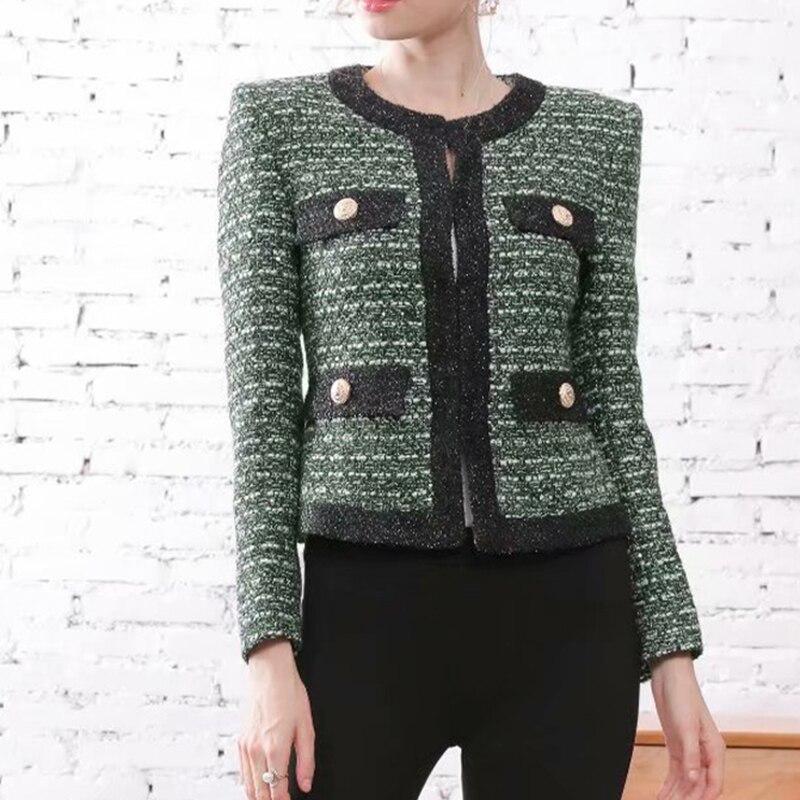 HIGH QUALITY Newest 2019 Designer Jacket Women's Lion Buttons O-neck Tweed Short Jacket