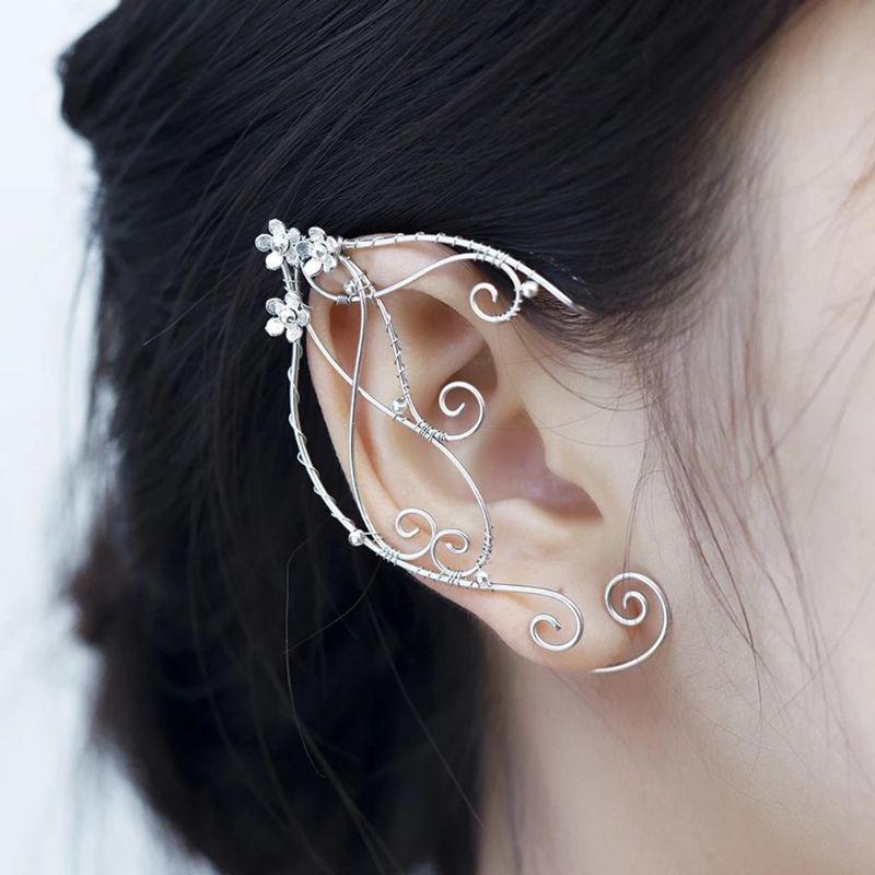 2020 nouveau elfe oreille manchettes boucles d'oreilles à clipser filigrane fée boucle d'oreille elfique Cosplay Costume