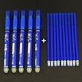 Стираемая гелевая ручка 5 шт. + 10 шт., стирающиеся гелевые ручки для письма с синими и черными чернилами 0,5 мм, школьные и офисные канцелярские ...