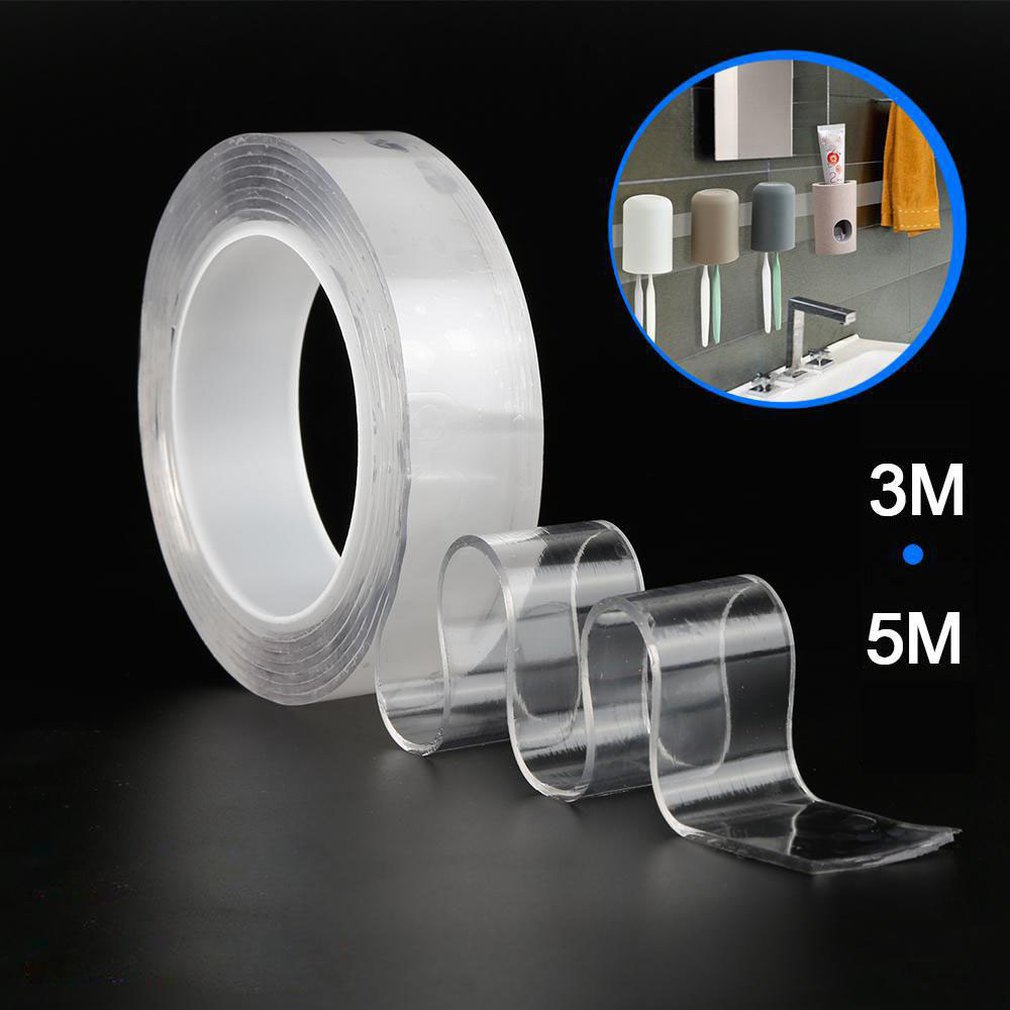 3/5m Reusable Thickened Nano Traceless Magic Tape Removable Transparent Waterproof Adhesive Tape Velcro Double-sided Adhesive