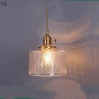 Japonês de bronze esculpido vidro retro vintage pednant luzes nordic minimalista quarto cabeceira corredor varanda barra led lâmpada pendurada