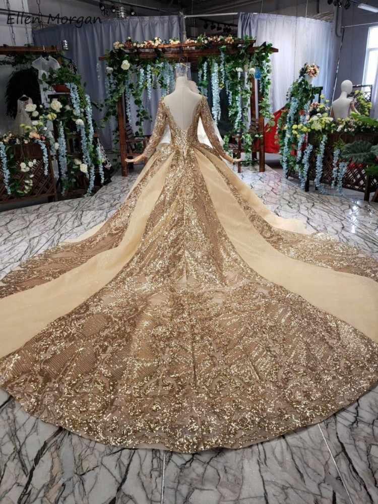 Свадебные платья с золотыми блестками, бальные платья 2020, роскошный соборный Королевский Шлейф, пышное свадебное платье с длинными рукавами и вырезом лодочкой и открытой спиной