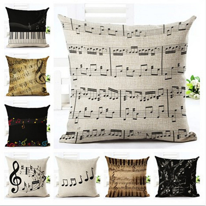 Creative Vintage Musical Notes Pillowcase Retro Note Cushion Cover Linen Piano Pillow Case For Sofa Chair Cover Home Decorative