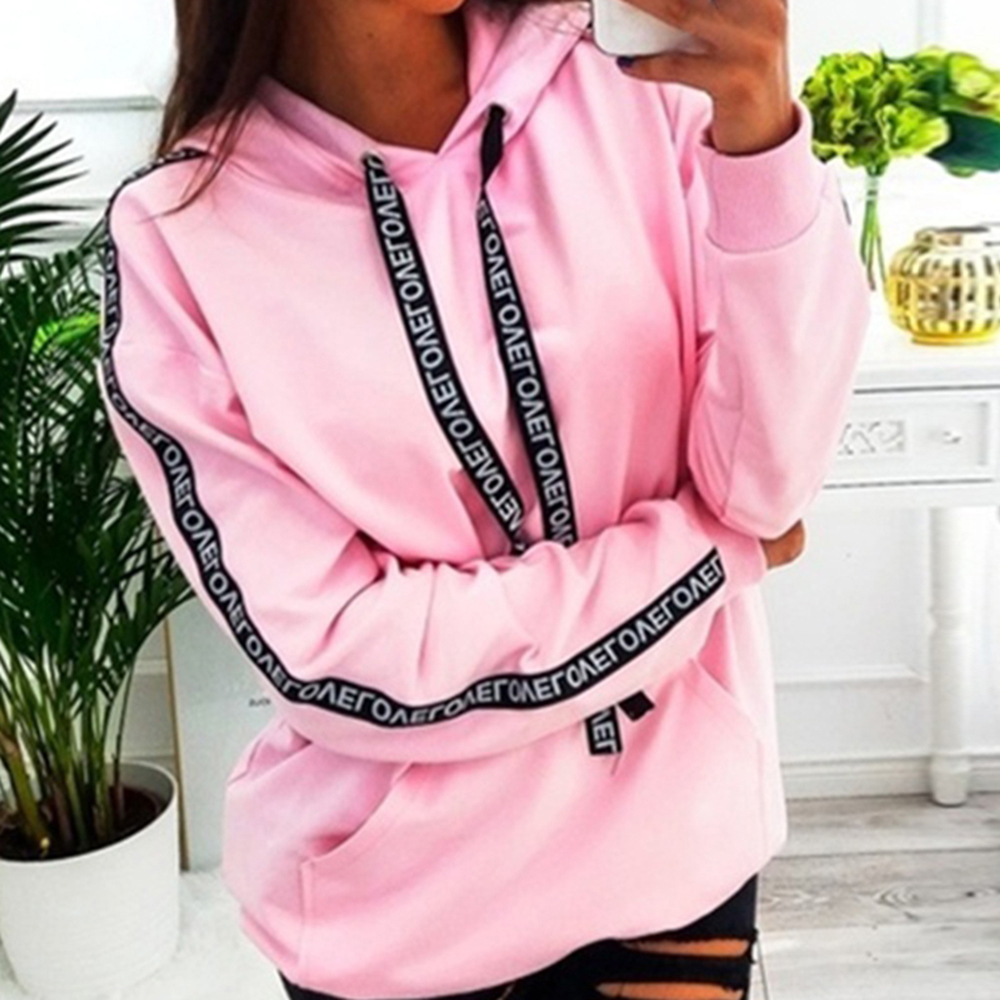Women Fashion Casual Long Sleeve Hooded Sweatshirt Ladies Side Stripd Solid Color Loose Pullovers Autumn Plus Size Tops 2019 New
