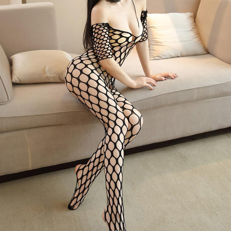 <font><b>Sexy</b></font> Hot Erotic Fishnet Halter Backless Leopard Bodystocking <font><b>Bodysuit</b></font> Babydoll <font><b>Lingerie</b></font> Lenceria Porn Latex <font><b>Catsuit</b></font> image