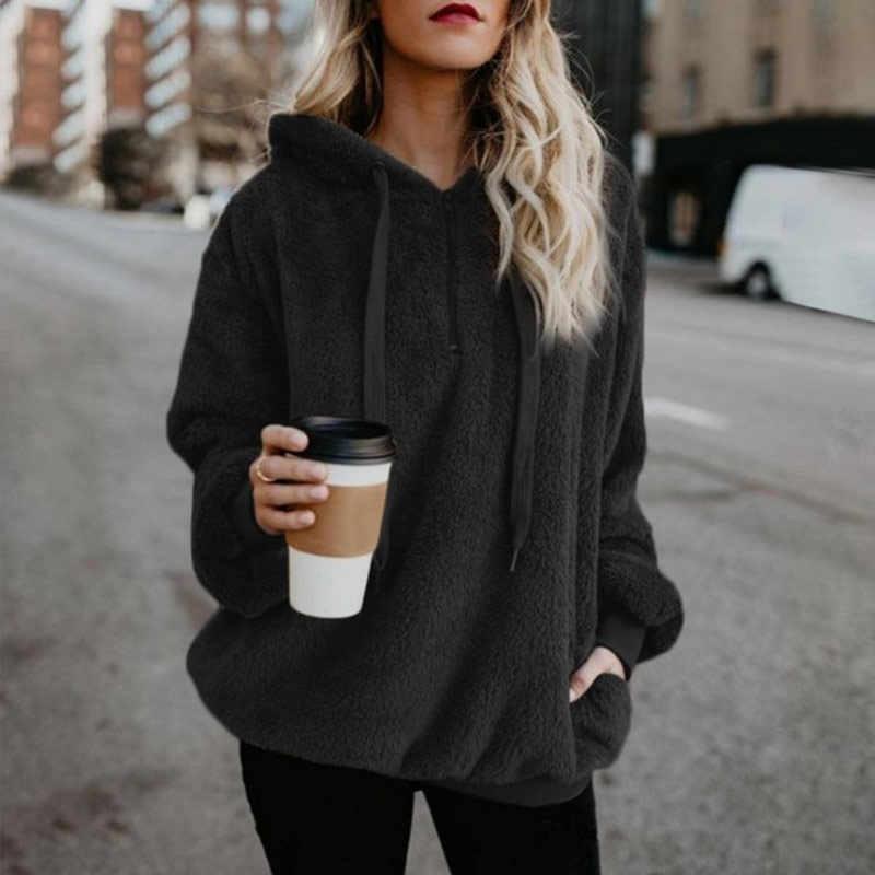Inverno mulheres hoodies manga comprida com capuz pulôver moletom feminino casaco de pele feminino plus size cor sólida roupas femininas casaco