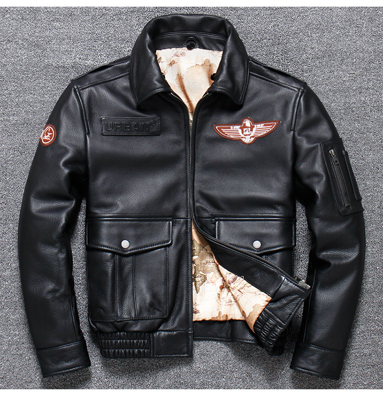 He3526ab6556846b18a240d4b6f3377edV 2019 Vintage Men's G1 Air Force Pilot Jackets Genuine Leather Cowhide Jacket Plus Size 5XL Fur Collar Winter Coat for Male