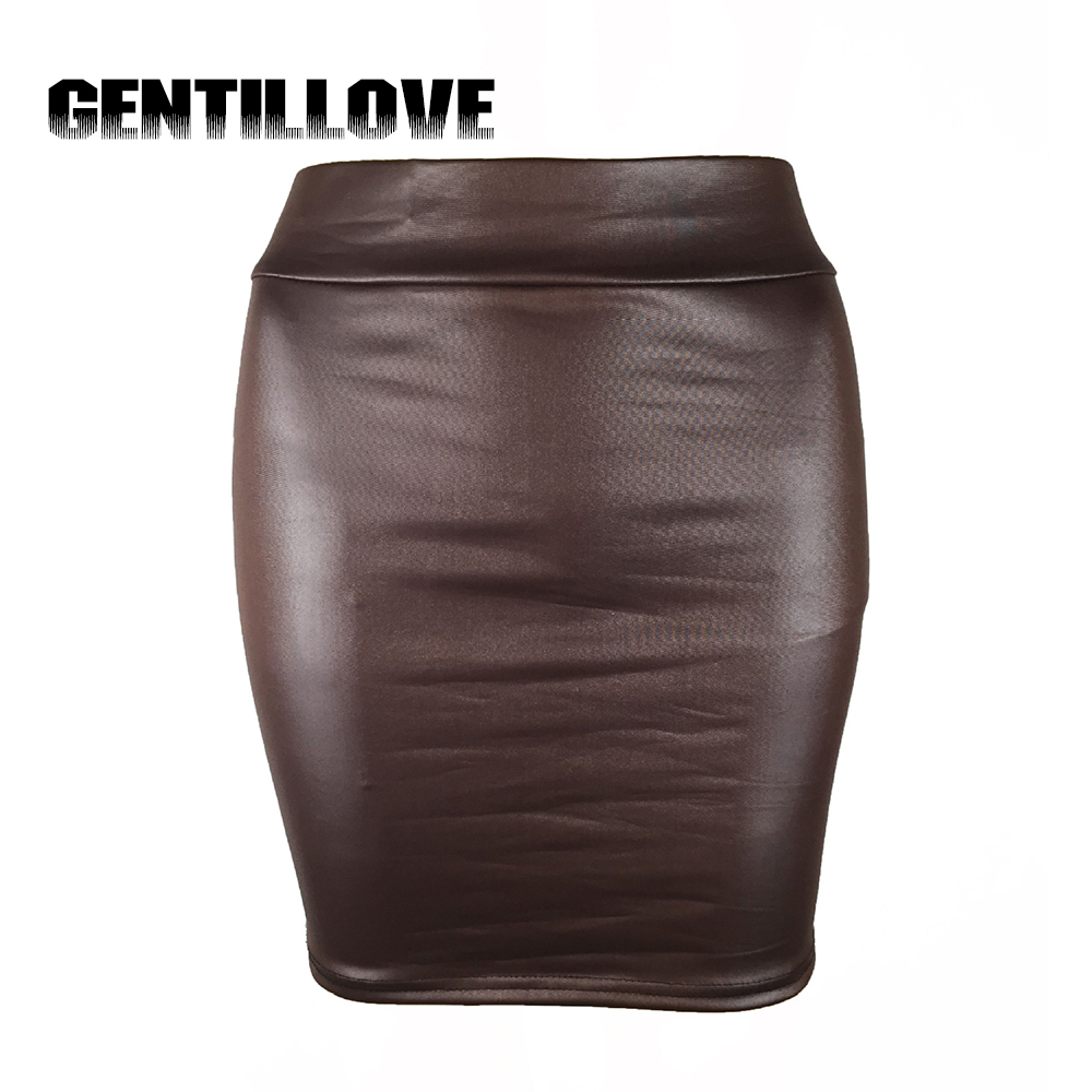 Fashion Women <font><b>Skirt</b></font> Black Solid Faux Leather <font><b>Sexy</b></font> Bodycon Autumn Pencil <font><b>Skirts</b></font> <font><b>Plus</b></font> <font><b>Size</b></font> High Waist Mini <font><b>Skirt</b></font> Club Night image
