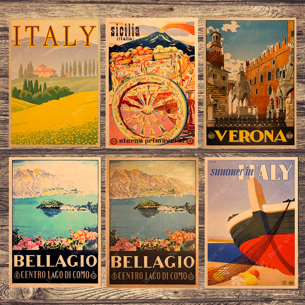 Canvas Painting Posters Wall-Stickers Italy Home-Decoration Travel Bellagio Vintage Coated