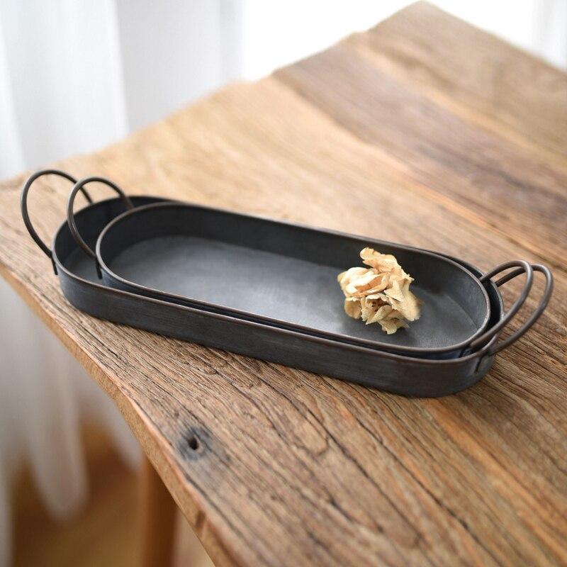 Винтаж Стиль металлический поднос корзина французский Кантри стиль посуда потертая деревенская домашний 20/30 см E2S-1