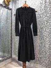 Женское плиссированное платье до середины икры черное или зеленое