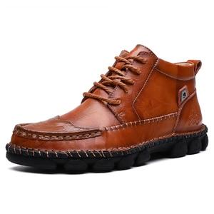Image 1 - Mens Leather Ankle Boots Lace up Men Shoes High Quality Men Vintage British Military Boots Autumn Winter Plus Size 38 48