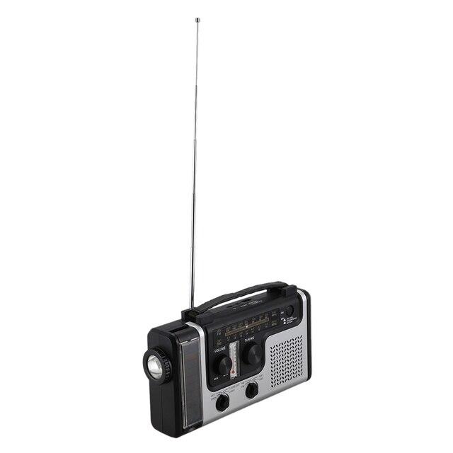 ABHU-Outdoor Multifunctional Solar Radio Portable FM/AM Radio Built-in Speaker Support LED Emergency Flashlight Table Lamp Therm 5