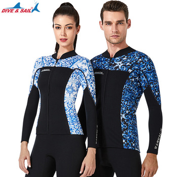 DIVE&SAIL 1.5MM Men Women Wetsuis Neorpene Outdoor Long Sleeve Diving Jackets Keep Warm Surfing Diving Printing Wet Suits Tops